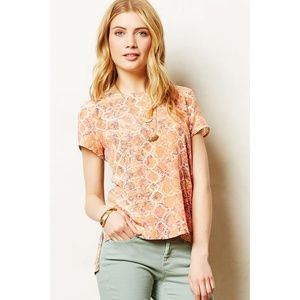 Anthropologie Fynn Rose Tofino Tee Snakeskin Silk